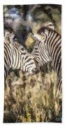Two Zebras Equus Quagga Nuzzlling Bath Towel