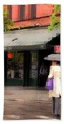 The Purple Bag - New York City In The Rain Bath Towel