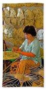 Umbrella Maker At Borsang Umbrella And Paper Factory In Chiang Mai-thailand Bath Towel