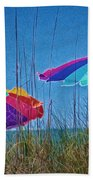 Umbrellas On Sanibel Island Beach Bath Towel