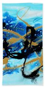 Under The Sea Original Abstract Blue Gold Painting By Madart Bath Towel