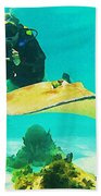 Underwater Photographer And Stingray Bath Towel