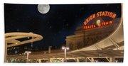 Union Station Denver Under A Full Moon Hand Towel