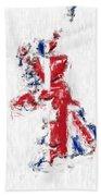 United Kingdom Painted Flag Map Bath Towel