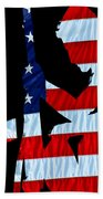 A Time To Remember United States Flag With Kneeling Soldier Silhouette Bath Towel