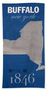 University At Buffalo New York Bulls College Town State Map Poster Series No 022 Bath Towel