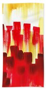 Urban Abstract Red City Lights Bath Towel