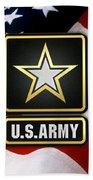 U. S. Army Logo Over American Flag. Bath Towel