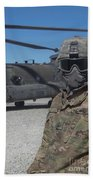 U.s. Army Soldier Stands Ready To Load Bath Towel