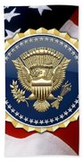 Presidential Service Badge - P S B Over American Flag Bath Towel