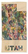 Utah Map Vintage Watercolor Bath Towel
