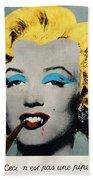 Vampire Marilyn With Surreal Pipe Bath Towel