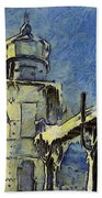 The Frozen Lighthouse Lake Michigan Hand Towel