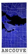 Vancouver Street Map - Vancouver Canada Road Map Art On Colored  Bath Towel