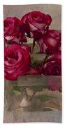 Vase Of Roses Bath Towel