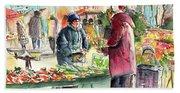 Vegetables Seller In A Provence Market Bath Towel