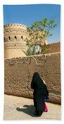 Veiled Woman In Yazd Street In Iran Bath Towel