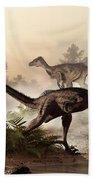 Velociraptors Prowling The Shoreline Bath Towel