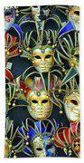 Venetian Opera Masks Bath Towel
