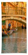 Venice Boat Bridge Oil On Canvas Bath Towel