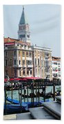 Venice Gondolas On Canal Grande Bath Towel
