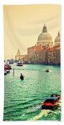 Venice Italy Grand Canal And Basilica Santa Maria Della Salute At Sunset Bath Towel