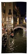 Venice Night By The Canal Bath Towel