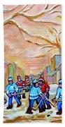 Verdun Back Lane Hockey Practice Montreal Winter City Scen Painting Carole Spandau Bath Towel