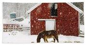 Vermont Christmas Eve Snowstorm Bath Towel