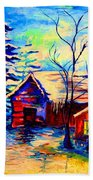 Vermont Winterscene In Blues By Montreal Streetscene Artist Carole Spandau Bath Towel