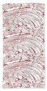 Vertical Panoramic Grunge Etching Burgundy Color Bath Towel