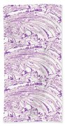 Vertical Panoramic Grunge Etching Purple Color Bath Towel