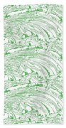 Vertical Panoramic Grunge Etching Sage Color Bath Towel