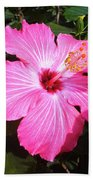 Vibrant Pink Hibiscus Bath Towel