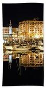 Victoria Inner Harbour At Night Bath Towel
