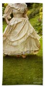 Victorian Woman Running On A Summer Lawn Bath Towel