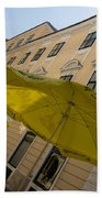 Vienna Street Life - Cheery Yellow Umbrellas At An Outdoor Cafe Bath Towel