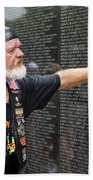Vietnam Veteran Pays Respect To Fallen Soldiers At The Vietnam War Memorial  Bath Towel