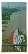 View Of A Ship On Its Side From A Bridge Near Bangkok-thailand Bath Towel