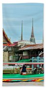View Of A Temple From Waterway Of Bangkok-thailand Bath Towel