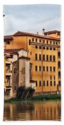 View Of Florence Along The Arno River Bath Towel