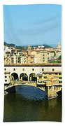 View On Ponte Vecchio From Uffizi Gallery Bath Towel