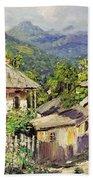 Village Scene In The Mountains Bath Towel