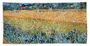 Field With Flowers Near Arles Bath Towel