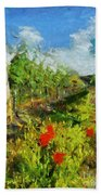 Vineyard And Poppies Bath Towel