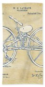 Vintage 1869 Velocipede Bicycle Patent Artwork Bath Towel