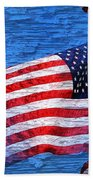 Vintage Amercian Flag Abstract Bath Towel