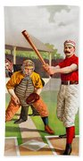 Vintage Baseball Print Bath Towel