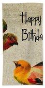 Vintage Birthday Birds Bath Towel