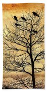 Vintage Blackbirds On A Winter Tree Bath Towel